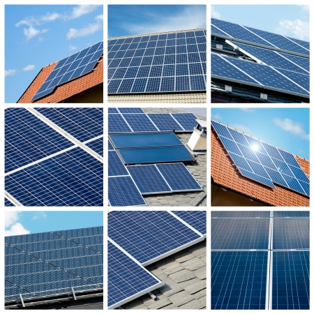 solar roof: Solar panels collage Stock Photo