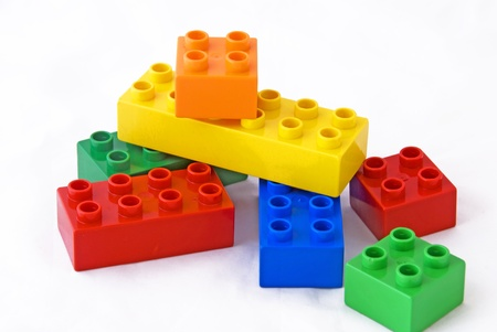 plastic art: Colorful building blocks Stock Photo