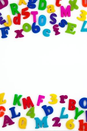 Background image of magnetic alphabet letters. photo