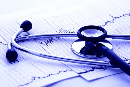 Real cardiology test with stethoscope