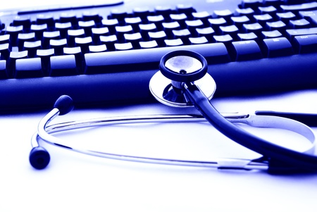 patient data: A stethoscope and computer keyboard