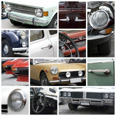 front of car: Old cars collage