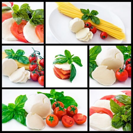 Italian food: spaghetti, mozzarella, cherry tomatoes and basil photo
