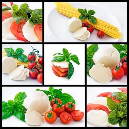 Olasz étel: spagetti, mozzarella, koktélparadicsommal és bazsalikommal