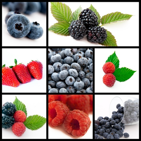 A collage of photos about berries fruits photo