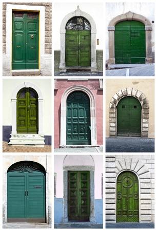 Green front doors Stock Photo
