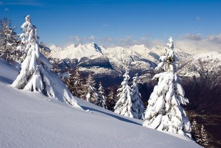 montañas nevadas: Invierno perfecto