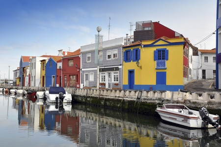 Traditional houses of Aveiro Stock Photo
