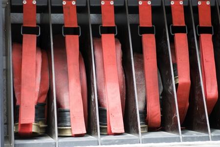 sump: mucchio di manichette antincendio su un firetruck