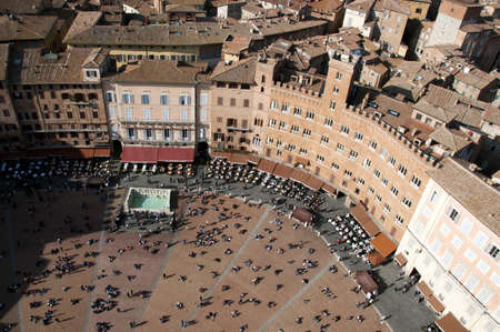 siena: Piazza del Campo, the main square of Siena from above, Italy