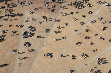 aerial views: Campo square seen from bell tower, Siena, Italy
