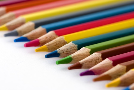 Colors pencil in series on white background Stock Photo - 11855124