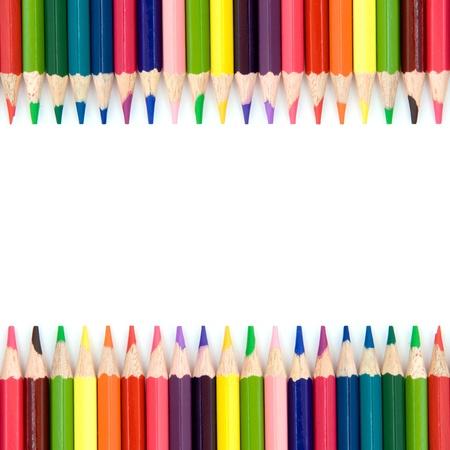 colores pastel: Fondo con l�pices de colores Foto de archivo