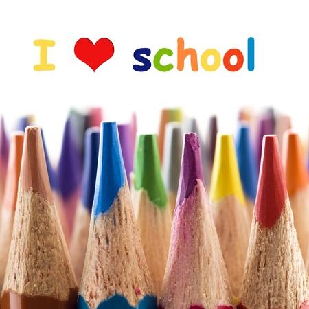 color pencils: I love school Stock Photo