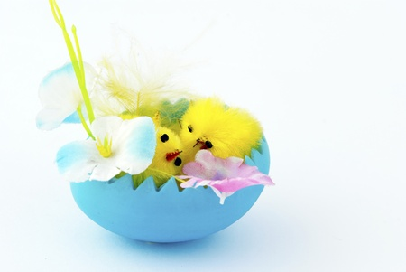 Easter card with egg, flowers and little chicken photo