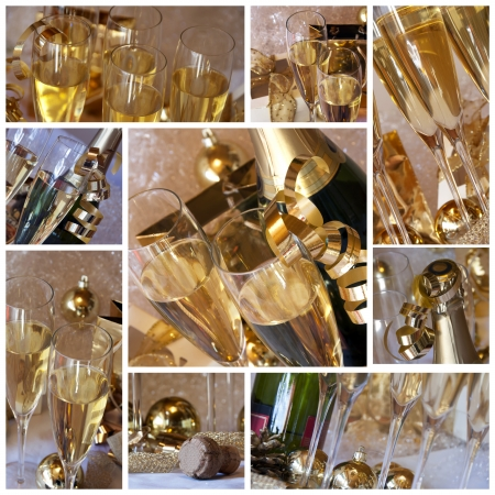 A collage of photos about champagne party  photo
