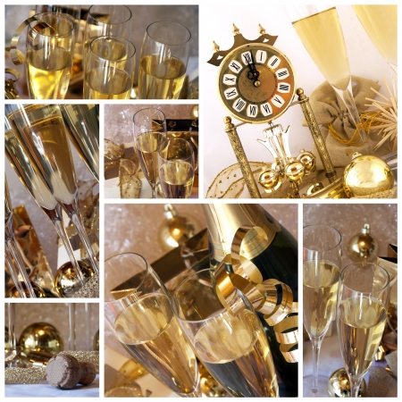 New year collage  Clock, champagne, candle, golden balls and ribbons Stock Photo - 13807844