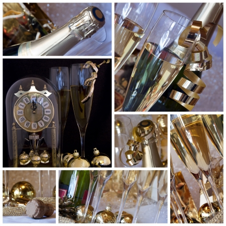 New year collage  Clock, champagne, candle, golden balls and ribbons photo