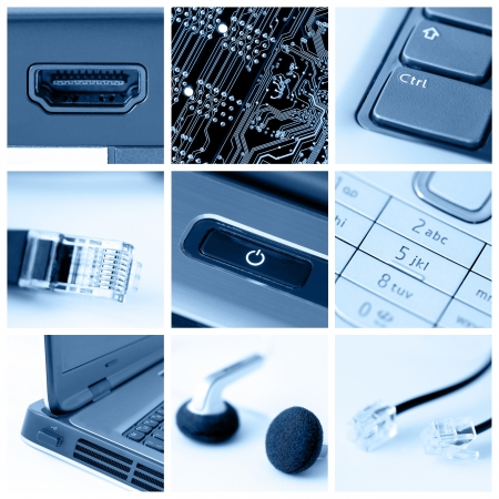 A collage of photos about technology theme photo