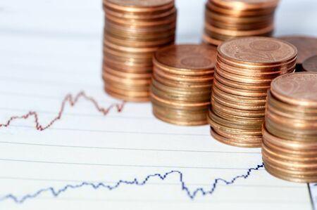 Néhány euróérmék a pénzügyi tábla