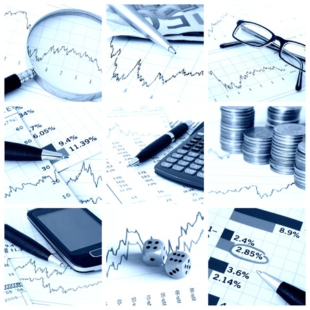 info chart: A collage of photos about finance theme - blue tone Stock Photo