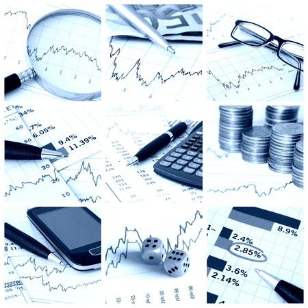 A kollázs képek a pénzügyi téma - kék hang