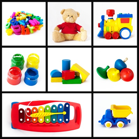 A collage of children toys photo