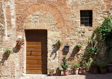 A beautiful facade og a  tuscan home in Monticchioli - Tuscany - Italy photo