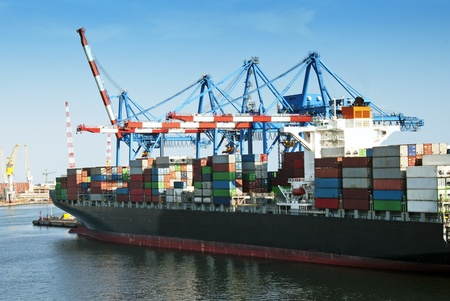 Large container ship in a dock