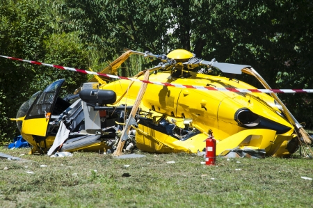 rescue helicopter: Helicopter crashed on takeoff in a garden