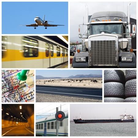 Szállítás kollázs vagy gyűjtemény különböző típusú teherautók, repülőgép, autó, hajó, vonat Stock fotó