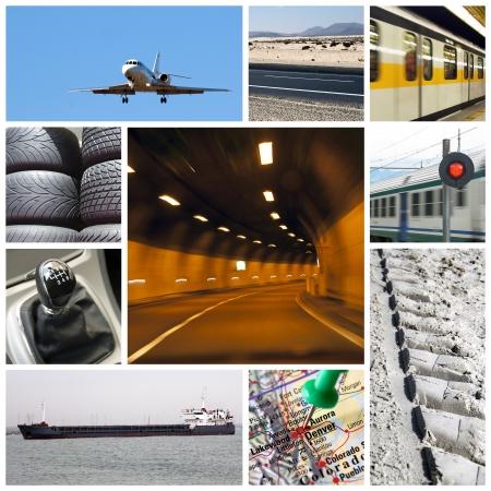 Közlekedési kollázs vagy gyűjtése különböző típusú kamion, repülőgép, autó, hajó, vonat Stock fotó