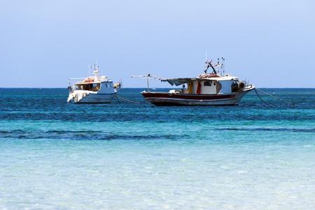 fishing boats in the beautiful sea of Sardinia -  Italy Stock Photo - 14708120