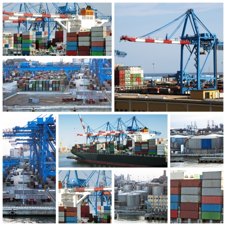 export import: A collage of photos about cargo shipping theme