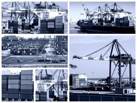 A collage of photos about cargo shipping theme - blue tone