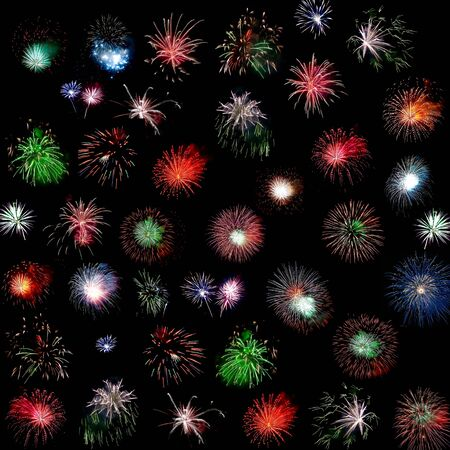 Colorful fireworks of various colors  - collage photo