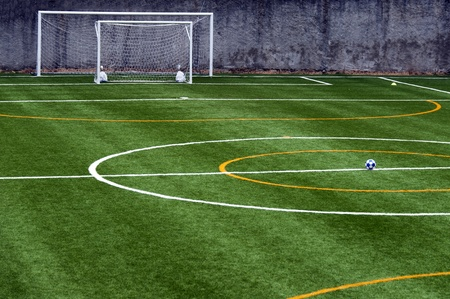 football pitch: soccer field with ball at the center of the field Stock Photo