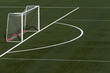pasto sintetico: fútbol campo de hierba con el objetivo neto