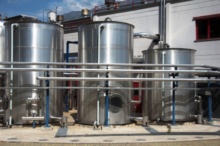 Chemical factory plant with pipes, tubes and silos