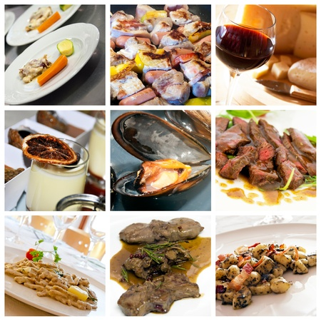 meat dish: Collage of various Italian dishes