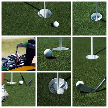 driving range: Golf collage Stock Photo