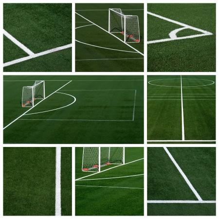 pasto sintetico: campo de fútbol - collage Foto de archivo