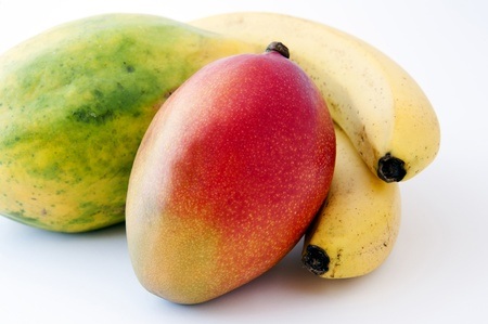 Tropical fruits on white background Stock Photo - 15143047