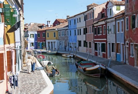 Venice, Burano island canal,  colorful houses and  boats photo