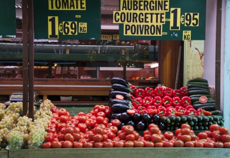 the stalls: Fresh and organic vegetables at french  farmers market