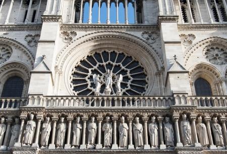 cite: detail of the cathedral  Notre Dame de Paris  on Cite island in Paris, France