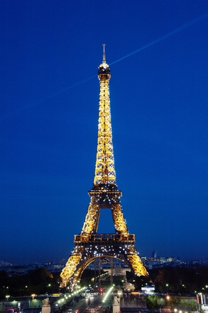 tower: The famous Eiffel Tower with illumination  in Paris