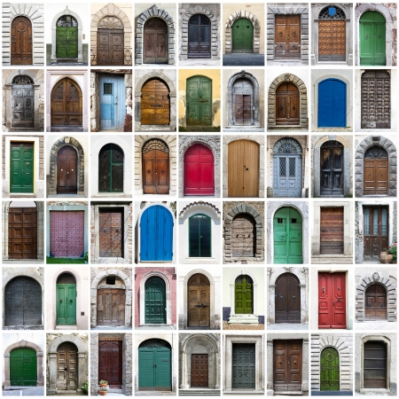 A collage of doors photos photo