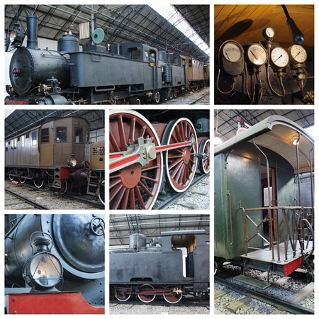 A collage of photos about old trains with steam engine locomotive photo