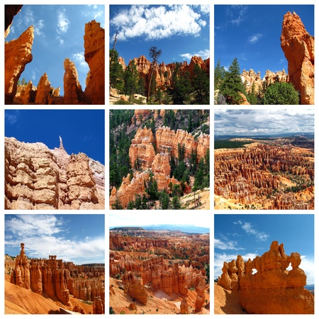 A collage of photos about the Bryce Canyon National Park, Utah, USA photo